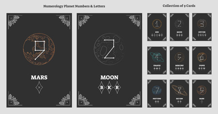 Solar system planets and astrological numbers with letters chart. Esoteric universe numeral science. Ancient system of personality characteristics and future predictions vector illustration. Illustration