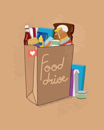 Illustrazione vettoriale di carità Food Drive con sacchetto di carta marrone con pacchi di cibo non deperibili e titoli. Aiuto banco alimentare per le persone.