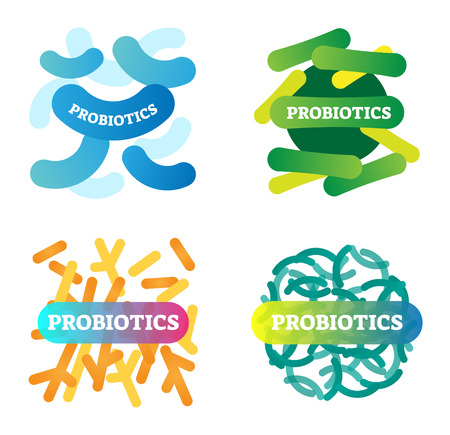 Vector illustration with labeled, artistic and colorful probiotics icon set. Stylized collection with anatomical good bacteria closeup. Health, biology and wellbeing basics. Ilustração