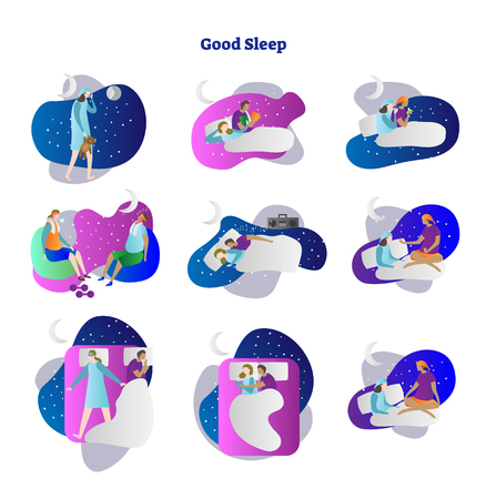 Good or bad sleep vector illustration collection set. Examples set of moonlighting, read, drink, exercise, music and yoga. Insomnia, restless and noctambulism reasons. Human with good and sweet dreams