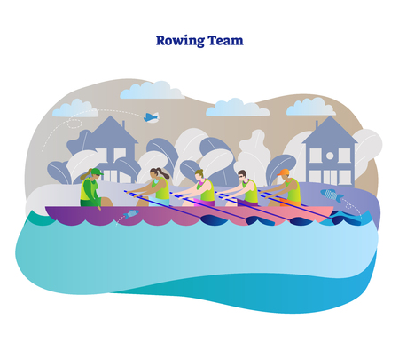 Rowing team vector illustration. Kayak, canoe or boat woman team with leader and captain. Outdoor activity with teamwork water sport athlete in river, sea or lake. City, fish and bird background. Illustration