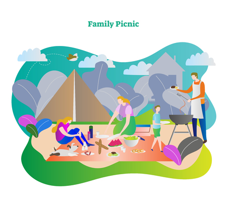 Family picnic vector illustration. Happy family together with mother, father, son, daughter and dog in camping trip weekend. Outdoor barbecue in lunch or dinner. Clouds, bird and nature in background.