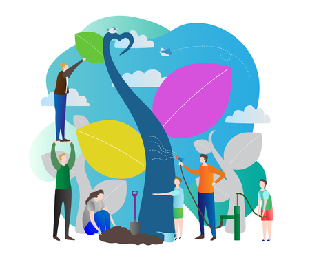 Sapling process modern vector illustration with nurturing nature, world ecology care for green future of the planet earth.Group of people working together in garden.Stylized tree with colorful leaves.