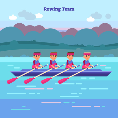 Rowing team vector illustration in kayak or canoe. Outdoor activity with teamwork water sport athletes in river, sea or lake. Nature scenery background. Unity, challenge and determination concept.