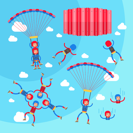 Skydiving vector illustration set. Collection of solo, tandem and formation group flights. Pilot with passenger, harness, parachute and selfie stick. Extreme sport with adrenaline, risk and danger Vetores