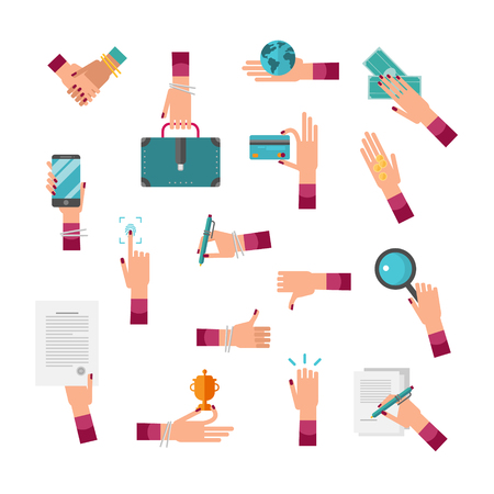 Business woman hand vector illustration collection set. Female CEO with handshake, briefcase, globe, money, card, phone and magnifier. Showing thumbs up and down, signing contract with signature. Illustration