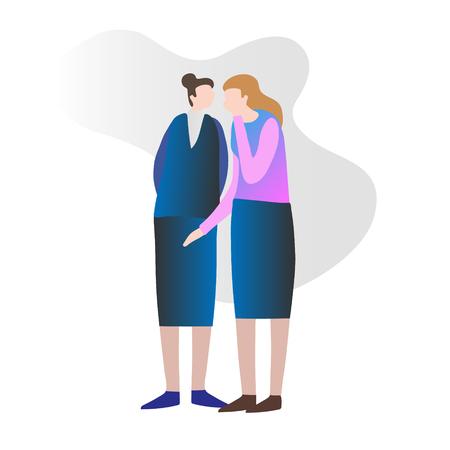 Due amiche che spettegolano e diffondono di nascosto notizie private. Sussurrando all'orecchio e discutendo di voci. Concettuale illustrazione vettoriale moderno e semplice, due donne adulte isolate che interagiscono.