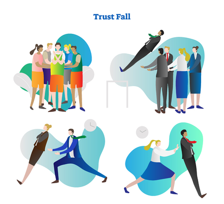 Trust fall vector illustration collection set. Various kinds of relying exercise. Team building and colleague cooperation in people group. Personality growth in risk, danger and outside comfort zone. Stock Illustratie