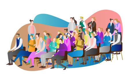 Menge Publikum Vektor-Illustration. Gruppe von Personen, Personen und Zuschauern, die bei einer Rede, Präsentation, einem Symposium oder einer Konferenz zusammen zuschauen, sitzen, stehen und flüstern. Viele erwachsene Schüler.