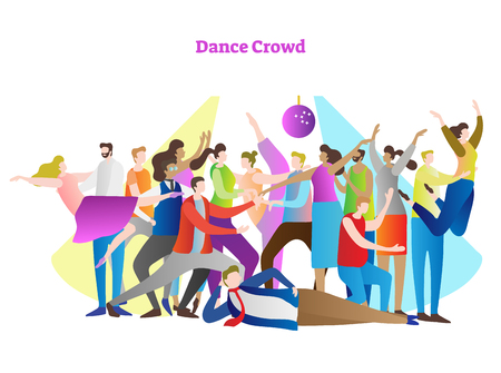 Dance crowd vector illustration. Adult friends and couples enjoying life, club, celebration, discotheque, party and active entertainment. Colorful, modern and casual youth style in light of disco.