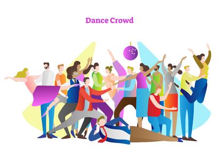 Illustrazione di vettore della folla di ballo. Amici adulti e coppie che si godono la vita, il club, la festa, la discoteca, la festa e l'intrattenimento attivo. Stile giovanile colorato, moderno e casual alla luce della discoteca.