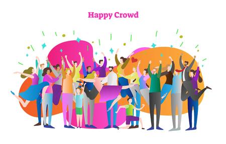 Ilustración de vector de multitud feliz. Hombre, mujer, niña y niño con las manos levantadas celebran la victoria o ganan. Masa humana saltando de felicidad en emocionada fiesta de confeti. Adulto con traje y vestido casual. Ilustración de vector