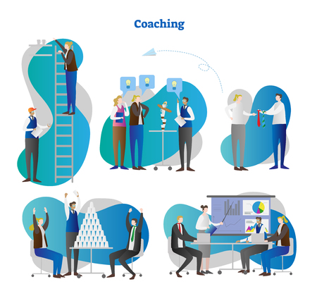 Coaching vector illustration. Collection set of business and personality growth with teamwork, teaching, finding solution and workshops. Trainer and mentor presentation with potential and goal advice.