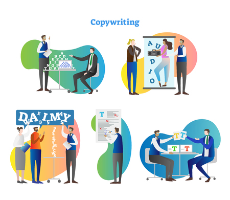 Copywriting vector illustration collection set. Work with freelance editor and author for media project or ad. SEO and grammar check for manuscript mistakes. Marketing and creative text process.