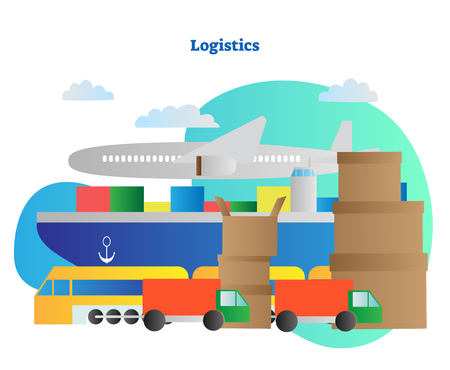Logistics vector illustration. Distribution and shipment delivery ways. Airplane, tanker or ship, train and bus. Cargo transportation and moving by sea, air, road or railway. Export business set. Иллюстрация