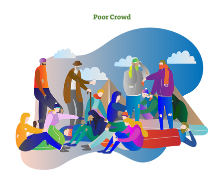 Poor crowd vector illustration. Homeless man, woman and elder people standing, sleeping and talking in cold winter. Social community in city and suburbs with life in tent or shelter. World problem.