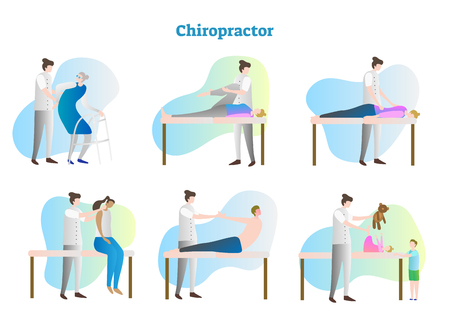 Chiropractor vector illustration collection set. Doctor, therapist or masseur exam sick person in hospital or clinic. Isolated medical and anatomical muscles and bones rehabilitation after injury.