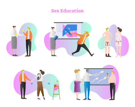 Sex education vector illustration collection set. Teaching about condoms, presentation about sex life, reproductive system, how baby are made and fertilization. Human intimacy safety and protection.