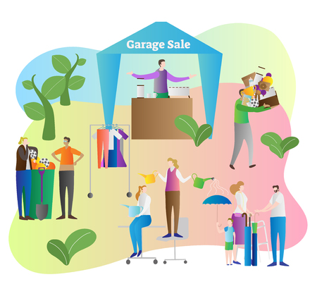 Garage sale vector illustration. Store and shop organize in house yard property to sell old and used items, things and household products. Process to empty home. Clients with pile of stuff in garden.
