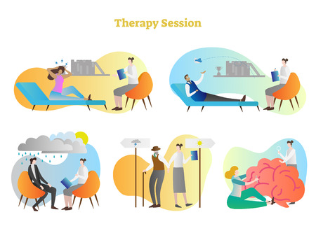 Therapy session vector illustration collection set. Anger, depression, stress and other emotional problems help to resolve consultant, psychiatrist or doctor. Patient brain fixing, help and support. Illustration