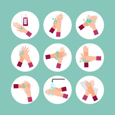 Washing hands scheme steps vector illustration icon collection set. Round images with soap, water, finger cleaning and sweeping with paper towel. Bacteria and infection prevention and personal hygiene