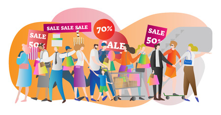 Shopping mall crowd vector illustration. Family in sale center and store. American lifestyle and buying sale stuff for money. Consumer, customer and shopaholic society generation scene in motion.  イラスト・ベクター素材
