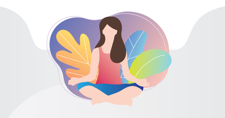 Relaxation techniques vector illustration. Female person sitting in yoga lotos position and enjoy calm, harmony and peace. Alternative medicine for vitality or healthy lifestyle and soul fulfillment.