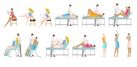 Colección de ilustraciones vectoriales de depilación y depilación. Mujer en salón de belleza sentada, acostada o de pie para afeitarse piernas, axilas o cejas. Procedimiento cosmético para la higiene personal y la piel tersa. Ilustración de vector