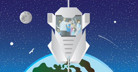 Space elevator vector illustration. Cosmic transport and sightseeing using modern space lift model and raise up out of the atmosphere. Family holidays high in cosmos. Future vision for crane vehicle.