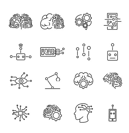 Artificial intelligence robotics outline icons collection with abstract brains, micro chips and robotic body parts symbols.Futuristic computer technology science icons set.Artificial mind development. Illustration