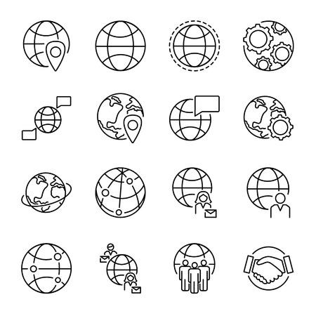 Colección de iconos de concepto de globalización con varias formas de globo y símbolos de conexión de personas. Conjunto de iconos de vector aislado negro monoline. Comunicación y cooperación multicultural de personas en todo el mundo.