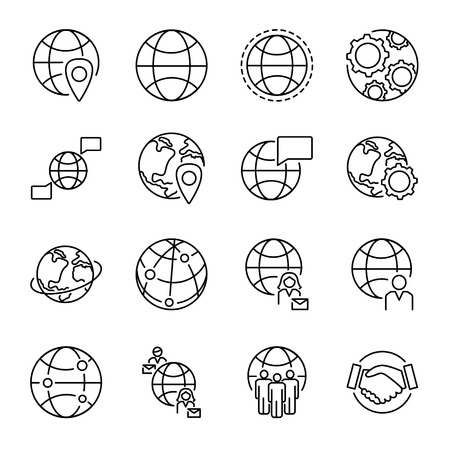 Collection d'icônes de concept de mondialisation avec diverses formes de globe et symboles de connexion de personnes. Ensemble d'icônes vectorielles isolées noir monoline. Communication et coopération multiculturelles dans le monde entier.