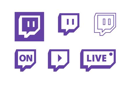 Twitch iconos de logotipo de vector de video de juegos en vivo. Logos