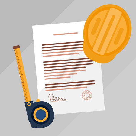 Contractors license agreement signed and stamped document vector illustration. Real estate construction business legal documentation. Top view concept with paper, measurement tape and helmet. Illustration