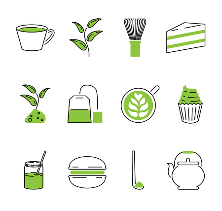 Matcha tea vector illustration collection set. Japan traditional healthy drink. Green leaf powder used in ceremony, cakes or teabags. Asian food and drink ingredient.