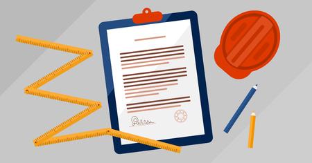 Contrat de licence des entrepreneurs signé et estampillé illustration vectorielle de document. Documentation juridique de l'entreprise de construction immobilière. Concept de vue de dessus avec papier, outil de mesure, casque et crayons. Vecteurs