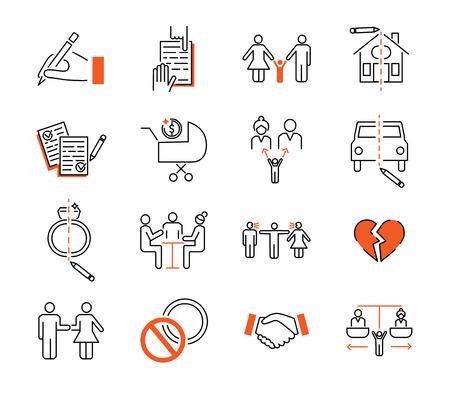 Colección de iconos de esquema de mediación de divorcio. Ilustración de vector con signo, acuerdo, niños, casa, coche y propiedad. Ruptura de relaciones y discusión de compromiso Ilustración de vector
