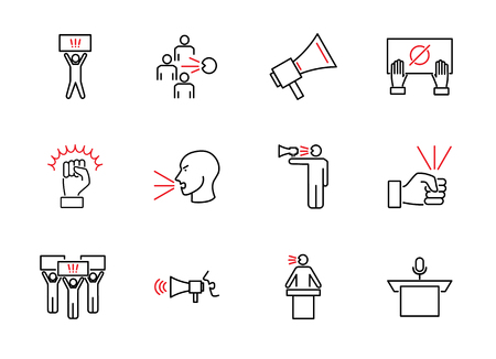 Speak out outline icon collection. Loud opinion vector illustration. People demonstration, riot, crisis or social conflict. Propaganda activist and opposition movement.