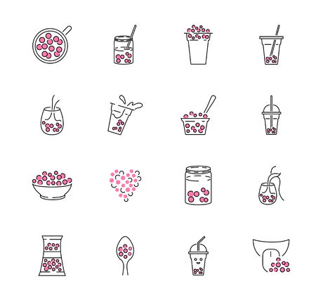 Bubble tea icon collection set. Milk boba in jar, mug, cup, glass or bowl. Pink refreshment with pearls and sparkling feeling. Decorative drink logo, symbol or element.