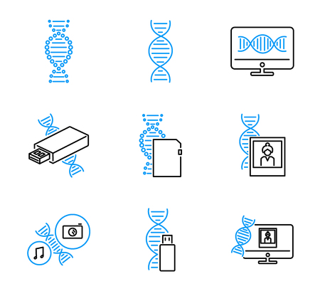 DNA data storage outline vector icons collection set with binarization, encoding, synthesis, sequencing and decoding. Future computer data storage technology.