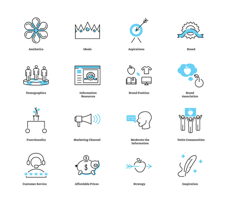 Lifestyle marketing icon collection set. Advertising technique vector illustration with symbols of aesthetics, ideals, brand, brand position or association and strategy.