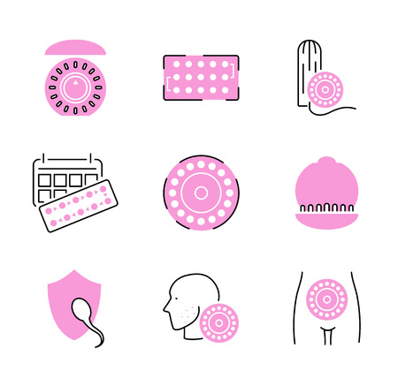 Birth control pills icon collection set. Pink pregnancy prevention vector illustration. Medical contraceptive pills or drugs to ovulation, fertility and hormonal safety.