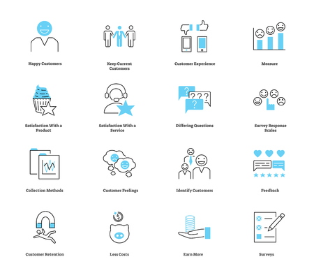 Customer satisfaction icon collection set. Vector illustration with experience, measure, product, service, survey and feedback symbols. Way to earn more with less costs. Ilustração Vetorial
