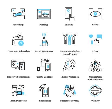 Ensemble de collection d'icônes publicitaires générées par le consommateur. Illustration vectorielle de pictogramme sur la vulgarisation de la marque par le client avec publication, partage, likes, fidélité et vues.