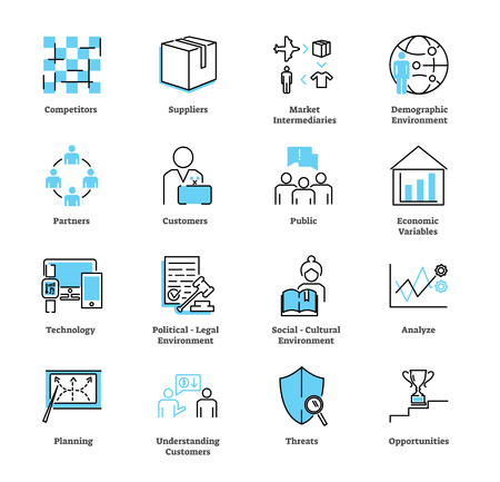 Marketing environment icon collection set. Advertisement strategy vector illustration with competitors, suppliers, intermediaries, partners, customers and political symbols.