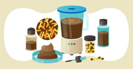 Matériel de greffe de microbiote fécal (FMT) ou de procédure de greffe de selles, collection d'objets de laboratoire d'illustration vectorielle. Collecte et traitement de bactéries fécales saines. Échantillons de selles et pilules.