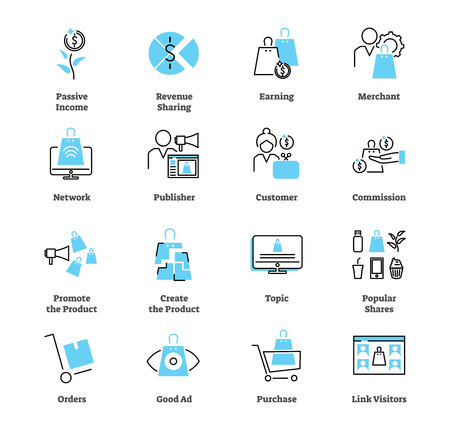Affiliate marketing icon collection set. Ads, passive income, merchant, publisher, network, shares and link visitors vector illustration symbols. Pay per click strategy.