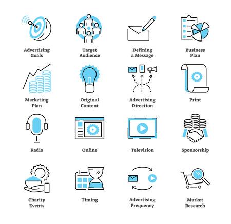 Insieme di raccolta di icone del piano pubblicitario. Illustrazione vettoriale commerciale con simboli di radio, pubblico, obiettivi, stampa, online, televisione e sponsorizzazione. Strategia d'affari.
