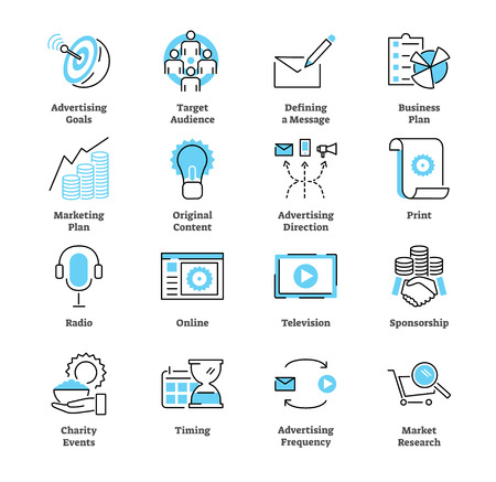 Werbeplan-Symbolsammlungssatz. Kommerzielle Vektorillustration mit Radio-, Publikum-, Ziel-, Druck-, Online-, Fernseh- und Sponsorensymbolen. Geschäftsstrategie.