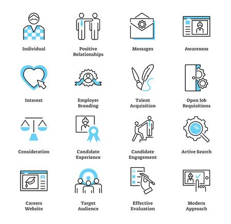 Insieme di vettore della raccolta dell'icona di marketing di reclutamento. Assumere la strategia dei talenti. Simboli di branding, target di riferimento individuale, valutazione efficace e relazione positiva.